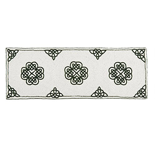 Nantucket Home St Patrick's Day White/Green Celtic Beaded Table Runner Centerpiece, 36-Inch x 13-Inch