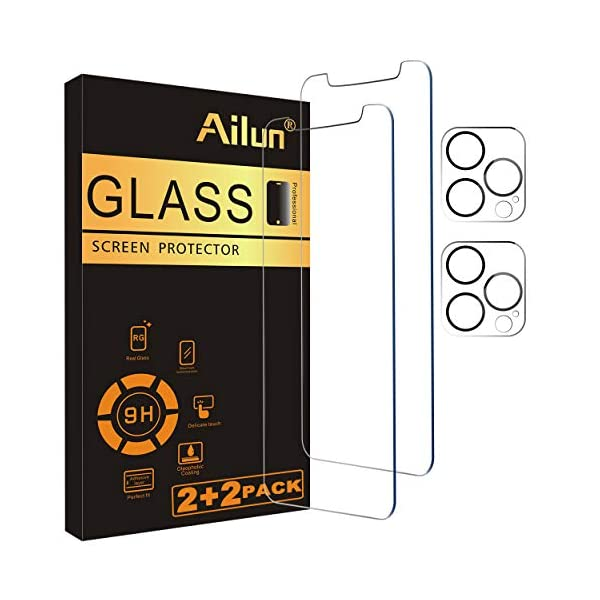 Ailun 2Pack Screen Protector Compatible for iPhone 12 Pro[6.1 inch] + 2 Pack Camera...