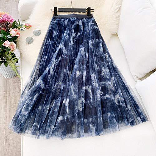 DAJUZI 2020 Nueva Falda de Malla de Mancha Retro Falda Larga de una línea de Falda Larga de una línea Falda Plisada Elegante para Mujer Falda Estampada Faldas Mujer Moda OneSize Blue