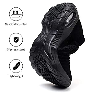 STQ Women's Slip On Walking Shoes Breathable Lightweight Mesh Casual Running Jogging Sneakers with Air Cushion Sole All Black, 7