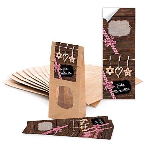 Logbuch-Verlag 10 braune Papiertüten mit Fenster 7 x 4 x 20,5 cm + 10 Aufkleber Frohe Weihnachten - Verpackung Gebäck Tee Weihnachtsplätzchen Pralinen