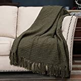 PANDATEX Thick Chunky Multi Color Knitted Throw Blanket for Couch Chair Sofa Bed, Chic Boho Style Textured Basket Weave Pattern Blanket with Decorative Fringe, 50'x60', Sage