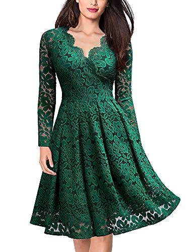 MISSMAY Women's Vintage Floral Lace V Neck Cocktail Party Swing Dress (D-Green-1, m)