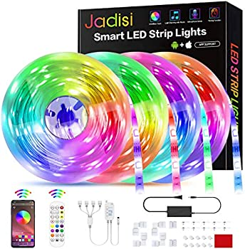Jadisi 65.6ft Music Sync RGB Led Strip Lights with Bluetooth Controller