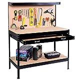 Safstar Multipurpose Workbench Workshop Tool Storage Tabletop Workstation Assembly Worktable with Sliding Organizer Drawer (Black)