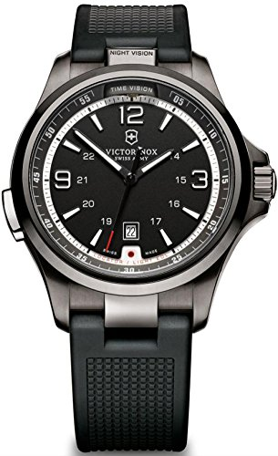 Victorinox Night Vision Herren Uhr analog Quarzwerk mit Kautschuk Armband V241596
