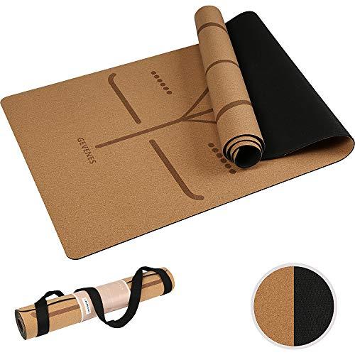 Gevenes Yogamatte aus Kork, Yogamatte rutschfest,Jogamatte inklusive Tragegurt, Yogamatte Kork ideal für Yoga & Gymnastik(183 x 61 x 0,4 cm)