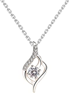 H.ZBRUJ Elegant Amethyst Pendant Necklace for Women 925 Sterling Silver Zirconic Ribbon Shape Pendant Necklace Birthday Present Anniversary for Mom Teens Girls Lady Girlfriend (Silver)