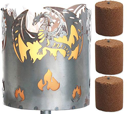 Novaliv Gartenfackel Drache Feuerschale Metall mit Stiel und 3xBrennmittel