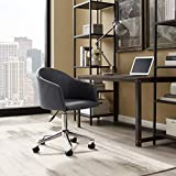 Volans Office Home Chair, Modern PU Leather Height-Adjustable Swivel Computer Desk Chair with Wheels, Matte Gray