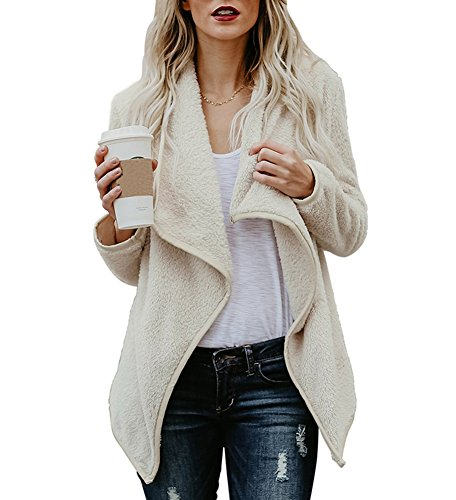 Womens Open Front Winter Coats Cardigan Sherpa Jacket Reversible Fluffy Outwear Beige XL