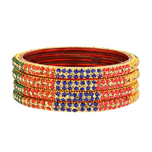 Efulgenz - Juego de pulsera de resina acrílica hecha a mano con cristales de estrás para novia, Bollywood indio