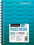 Grumbacher Mixed Media Paper Pad with In & Out Pages, 90 lb. / 185 GSM, 5.5 x 8.5 inches, Side Wired, 50 White Sheets/Pad, 1 Each, 26460700413