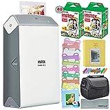 Fujifilm Instax Share Smartphone Printer SP-2 w(Silver)/ 40 Sheets Instax Mini Instant Film, Photo Album, Mini Photo Frames, Paper Photo Frame, Small Case. and FiberTique Cleaning Cloth