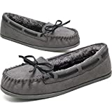 KOLILI Womens Faux Fur Moccasin Slippers Winter House Shoes for Indoor Outdoor Grey/8.5 M US