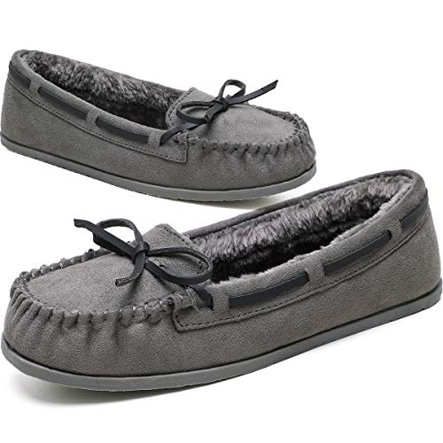 KOLILI Womens Faux Fur Moccasin Slippers Winter House Shoes for Indoor Outdoor Grey/7.5 M US