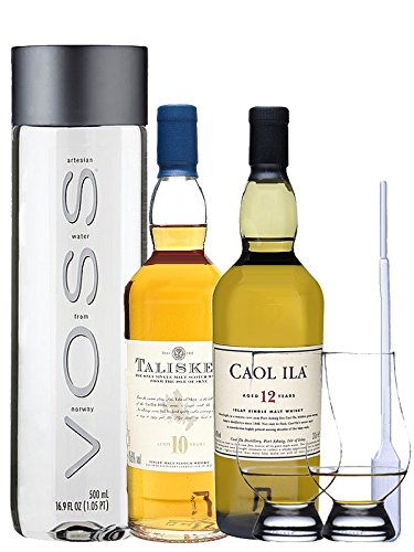 Whisky Probierset Talisker 10 Jahre 20 cl und Caol Ila 12 Jahre 20 cl + 500ml Voss Wasser Still, 2 Glencairn Gläser und eine Einwegpipette