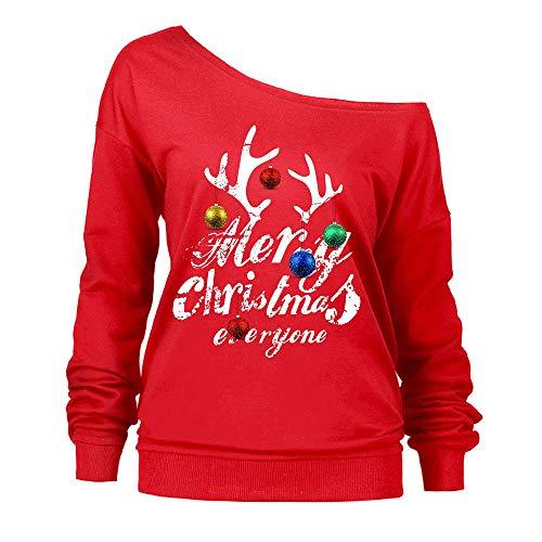 VEMOW Elegante Damen Oberteile Weihnachten Langarm trägerlos Slash Neck Sweatshirt Bedruckt Pullover Tops Bluse Hemd(Rot, 46 DE / 3XL CN)