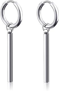 Stainless Steel Hoop Earrings-Hinged Chain Dangle Drop Earring Unisex Piercing Ear Jewelry