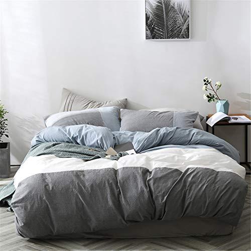 Modern Queen Bedding Duvet Cover,Blue Grey White Patchwork Duvet Cover Set,100% Washed Cotton Big Stripe Comforter Cover with Zipper Closure Men Boys Luxury Simple Bedding Set-Queen,Blue