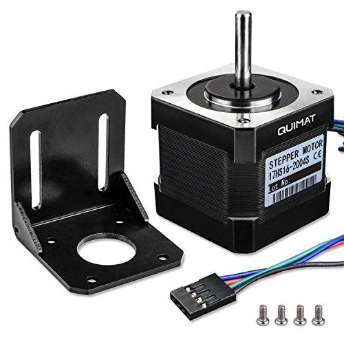Nema 17 Motor paso a paso para Impresora 3D / 2A 45Ncm (64oz.in) 38mm 4-pin con 1m + Cable + Conectador + Soporte QD05