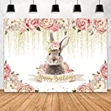 Aperturee Easter Bunny Happy Birthday Backdrop 7x5ft Spring Baby Girls Pink Floral Flowers Cute Rabbit Gold Spots 1st Birthday Photography Background Kids Party Decoration Photo Studio Booth Supplies