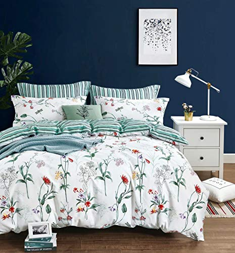 Swanson Beddings Floral and Green Stripes Reversible Floral Print 3-Piece 100% Cotton Bedding Set: Duvet Cover and Two Pillow Shams (Oversized King)