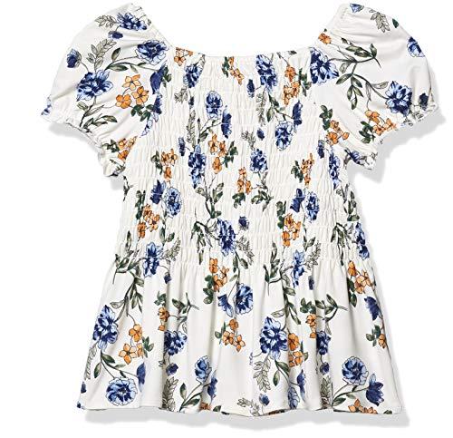Speechless Girls' Short Sleeve Peplum Smocked Top, Ivory, Medium