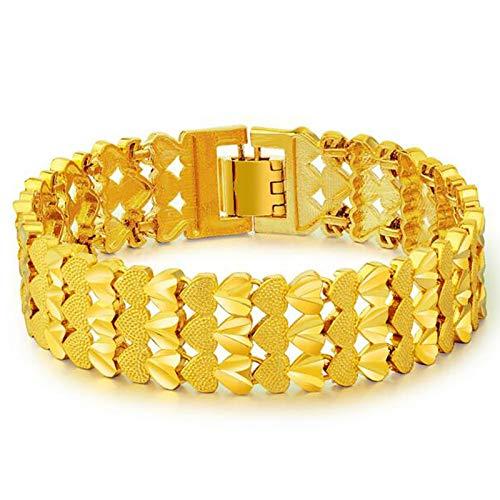 MSTOT gouden ketting 24 karaat goud voor mannen en vrouwen met kleurbescherming, gesp van messing met vergulde armband