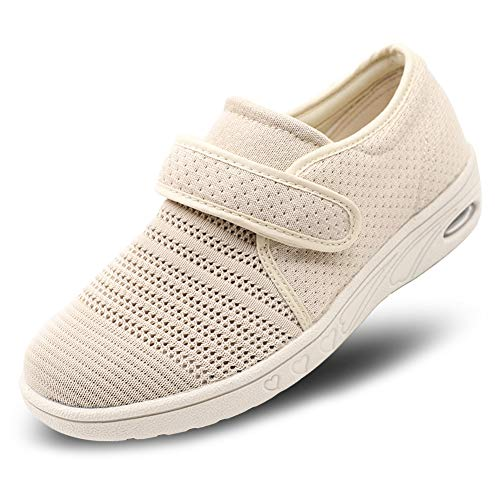 Womens Diabetic Walking Shoes Breathable Mesh Adjustable Outdoor Sneakers Recovery Easy On Off Strap Slip-On Slippers Comfort for Elderly Swollen Feet, Edema, Foot Pain, Breathable - Beige, 8
