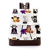Mochila casual de piel sintética para hombre, bolsa de hombro para estudiantes para viajes, negocios, universidad, gato y perro, disfraz de Halloween
