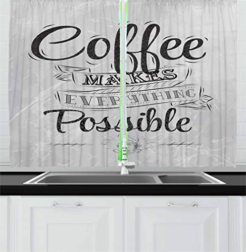 """Lunarable Coffee Kitchen Curtains, Coffee Makes Everything Possible Words Art Lifestyle Inspiration Idea Design, Window Drapes 2 Panel Set for Kitchen Cafe Decor, 55"""" X 39"""", Grey Black"""