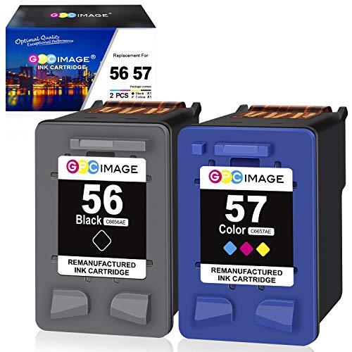 GPC Image 56 57 Remanufactured Druckerpatronen für HP 56XL 57XL für HP DeskJet 450ci 5150 5550 5652, Photosmart 7760 7960, PSC 1210 1215 1315 1350, OfficeJet 4212 4215 (1 Schwarz/1 Farbe,2er Pack)