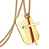 Cupimatch Gold Men's English Bible Dog Tags Cross Prayer Pendant Necklaces, Stainless Steel Jesus Verse Lords Catholic Necklace Chain 24'