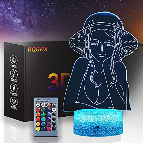 3D lámpara de noche para niños Nico Robin 3D luz 16 colores cambiar con control remoto, vacaciones y regalos ideas para niños niñas y niños