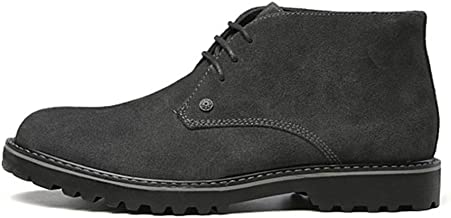 Xujw-shoes store, 2019 Mens New Lace-up Flats Chukka Boots for Men Ankle Boots Lace up Suede Round Toe Non-Slip Stitching Block Heel Solid Color Vegan Wear-Resisting Soft Durable Comfortable Black