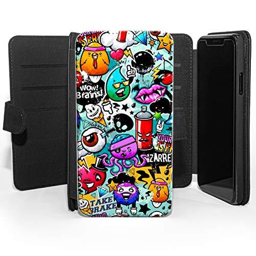 Colorido graffiti arte de pared helado divertido pulpo pirata cuero cartera teléfono funda, compatible con Samsung Galaxy S7 Edge