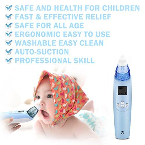 FUNTOK Nasensauger Nasensekretsauger Nasenreinigung Elektrischer Nasal Aspirator für Baby Nasenschleimentferner Nasenpflege für Neugeborene Kleinkinder mit Musik Licht sicher sauber und einfach - 6