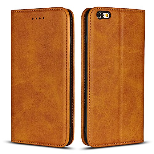 Copmob Funda iPhone 6s Plus,Funda Piel para iPhone 6 Plus, Funda Cuero Premium Carcasa Case Soporte Plegable,Ranuras para Tarjetas y Billetes,Cierre Magnético para iPhone 6s Plus/6 Plus-Caqui