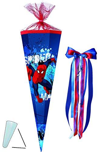 alles-meine.de GmbH komplette Füllung - Circa 200 Teile - für Schultüte -  Spider-Man  - - eckig - incl. große Schleife - Tüllabschluß - Zuckertüte - mit / ohne Kunststoff Spit..