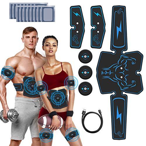 JuYue Electroestimulador Muscular Abdominales, Estimulador Abdominal Recargable, EMS Estimulador Muscular para Bdomen/Brazo/Piernas/Glúteos con 16pcs Gel Pads