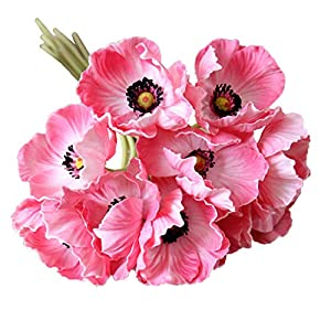 Calcifer 10 pcs Real Touch PU Mini Artificial Poppies Flowers Bridal Holding Flowers Bouquet Home Garden Wedding Party Decoration