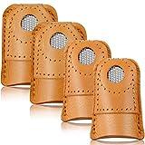 WILLBOND 4 Stück Nähen Fingerhut Fingerschutz Leder Fingerhut Fingerschutz Münze Fingerhut Schutz zum Stricken Nähen Quilten Nadel Nadeln Basteln Zubehör DIY Nähwerkzeuge, 2 Größen