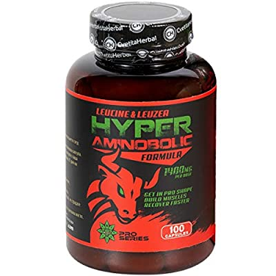 Hyper Aminobolic | 100 Caps x 1400 mg (50 Day's Supply) | Leucine | Leuzea Extract | BCAA | Stimulates Muscle Growth and Protein Synthesis | by Cvetita Herbal