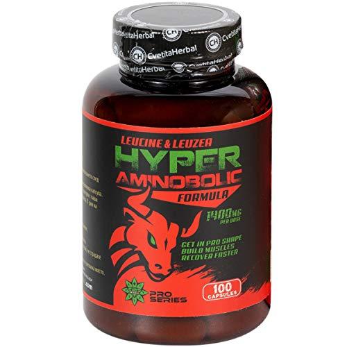 Cvetita Herbal, Hyper Aminobolic BCAA Acide aminé Leucine et Leuzea, Entrer dans PRO Forme, Récupérer plus vite, construire des muscles (100 gélules)