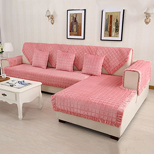 HM&DX Flannel Quilted Sofa Cover Slipcover,Multi-Size Checkered Anti-Slip Stain Resistant Sectional Couch Cover Furniture Protector-Pink 70x210cm(28x83inch)