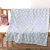 Bertte Plush Baby Blanket for Boys Girls   Swaddle Receiving Blankets Super Soft Warm Lightweight Breathable for Infant Toddler Crib Stroller - 33'x43' Large, Sky Blue Hearts Embossed