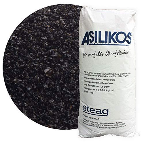 25 kg Asilikos Aluminiumschlacke Strahlmittel 0,25-1,4 mm von Schicker Mineral für effektives Sandstrahlen