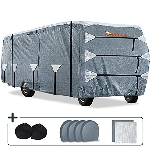 KING BIRD Upgraded Class A RV Cover, Extra-Thick 5 Layers Anti-UV Top Panel, Durable Camper Cover, Fits 37'- 40' Motorhome -Breathable, Water-Proof, Rip-Stop with 2Pcs Extra Straps & 4 Tire Covers