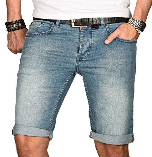 A. Salvarini Herren Designer Jeans Short Kurze Hose Slim Sommer Shorts Bermuda, Hellblau, W34